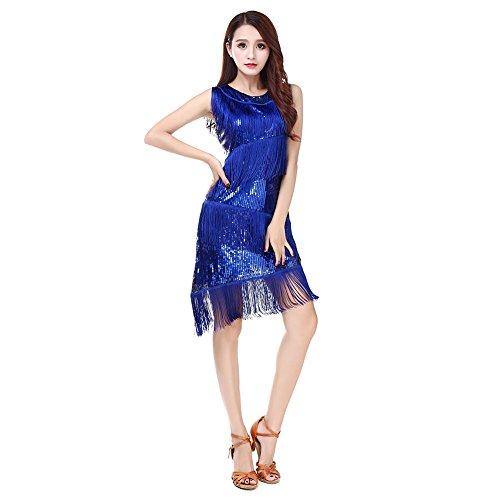 Azul la Samba Concurso ESHOO Laties latín Rumba Baile de Tango de Traje Tassle Vestido Danza Lentejuelas xZ04q