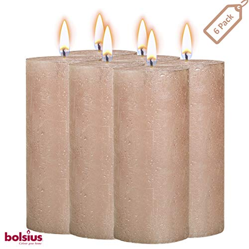 (BOLSIUS Rustic Full Metallic Rose Gold Candles – Set of 6 Unscented Pillar Candles – Rose Gold Candles with a Full Metallic Coat – Slow Burning – Perfect Décor Candle – 130/68m 5 X 2.75 Inches)