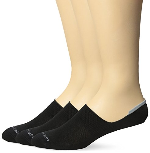 Calvin Klein Men's 3 Pack Feeder No Show Sock,Black,Sock Size:10-13/Shoe (Calvin Sport Socks)