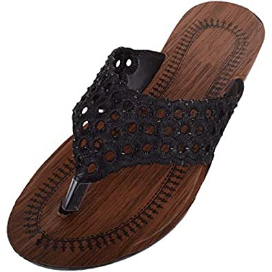 ABSOLUTE FOOTWEAR Womens Slip On Summer/Holiday/Beach Sandals/Shoes with Toe Posts - Black - US 6