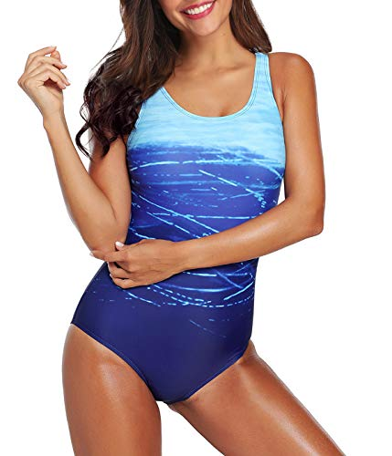 Women's One Piece Swimsuits for Women Athletic Training Swimsuits Swimwear Racerback Bathing Suits for Women A Blue Small (fits Like US 2-4) ()