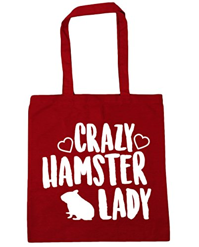 HippoWarehouse Crazy hamster lady Tote Shopping Gym Beach Bag 42cm x38cm, 10 litres Classic Red
