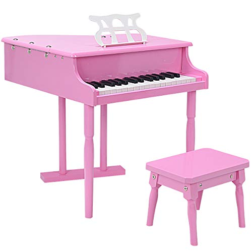 Goplus Classical Kids Piano, 30 Keys Wood Toy Grand Piano w/ Bench, Music Stand, Mini Musical Toy for Child (Pink)