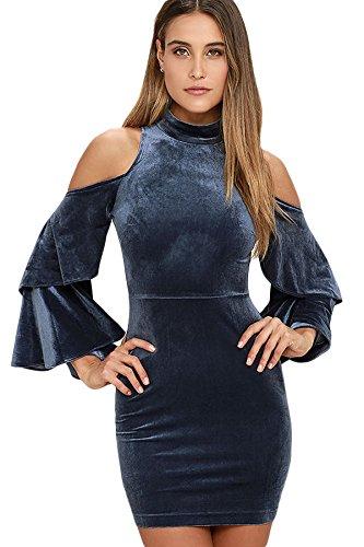 Damen Dusty Blau Samt Kalte Schulter Bell Sleeve Club Wear Party ...