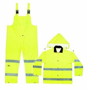 CLC Custom Leathercraft R111M 2-Piece ANSI 3 Polyester Rain Suit with Detachable Hood, Medium