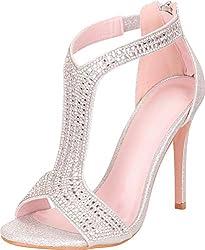 Open Toe T-Strap Crystal Rhinestone Stilettos