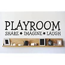 Decal - Vinyl Wall Sticker : PLAYROOM SHARE IMAGINE LAUGH Quote Home Living Room Bedroom Decor DISCOUNTED SALE ITEM - 22 Colors Available Size: 8 Inches X 20 Inches
