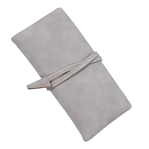 (Women Drawstring Long Wallet Ladies Daily Purse with Multi Card Organizer (Gray) )