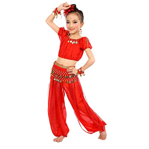 Yaseking Children Girl Belly Dance Outfits, Performance Costumes India Traditional Dance Pants Set (S, Red)