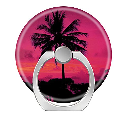 (Hundax INC Hawaiian Exotic Palm Tree Silhouette Finger Ring Stand 360 Degree Rotation Thin Universal Phone Ring Holder Kickstand Compatible with All Smartphones and Tablets.)