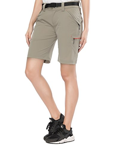 Adjustable Waist Cargo Shorts - MIERSPORTS Women's Lightweight Cargo Shorts Outdoor Stretchy Hiking Shorts with Zipper Pockets, Adjustable Waist, Quick Dry, Rock Gray, XS