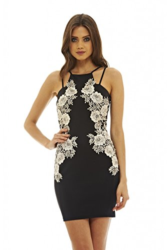 Price comparison product image AX Paris Women's Mini Bodycon Lace Insert Dress(Black Nude,  Size:6)
