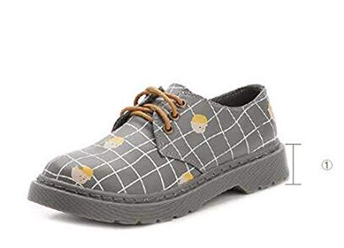 's Da Eu grigio 37 37 Eu Retro Shoes Scarpe Cross Pu Casual Deed Bandage Donna wgFqFt