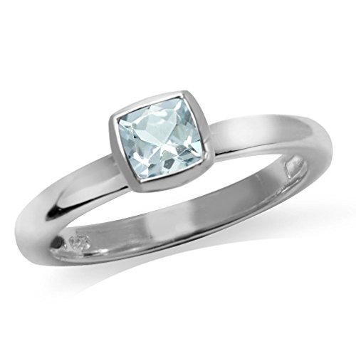 Silvershake Genuine Cushion Cut Blue Aquamarine 925 Sterling Silver Stack Stackable Solitaire Ring Size 8