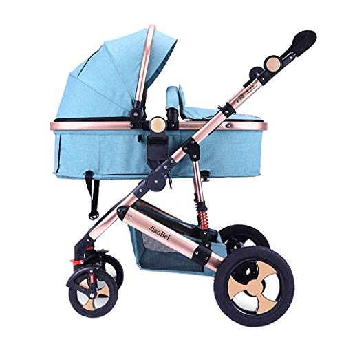 YRYRGXQ High Landscape Stroller Pushchair Can Sit and Lie Folded Shockproof 4 Wheel Independent Sleeping Basket Baby Buggy, Five-Point Safety Belt