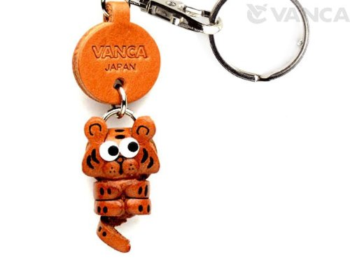 (Tiger Leather Zodiac Mascot Small Keychains VANCA CRAFT-Collectible keyring Made in)