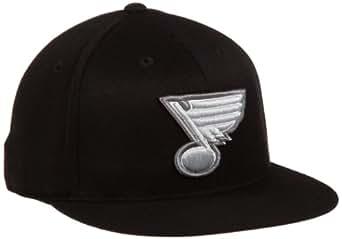 NHL St. Louis Blues Game Day Black Pro Shape Flat Brim Flex Cap- Tx79Z, Black, Small/Medium