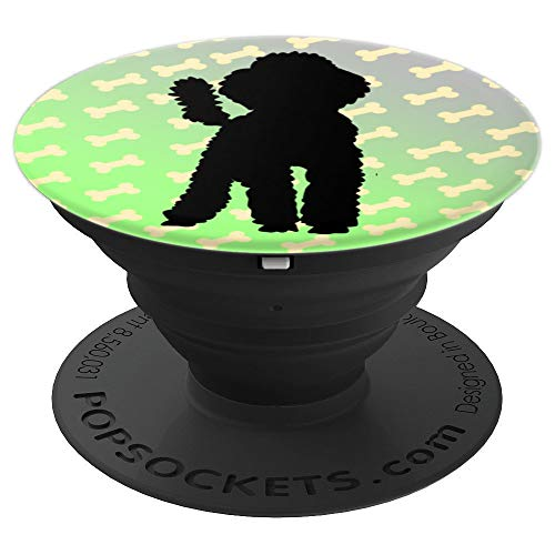 Standard Poodle In Black On Cute Bone Pattern For Dog Lover - PopSockets Grip and Stand for Phones and Tablets