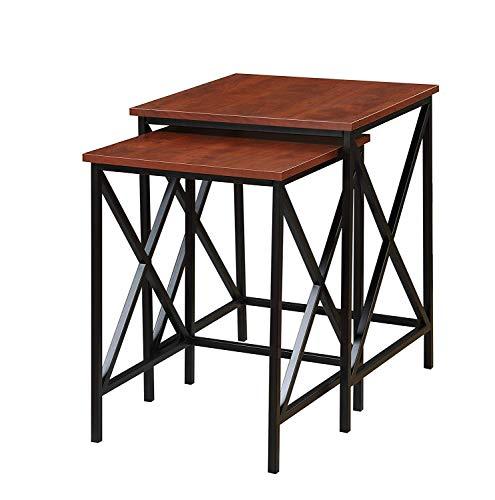 Convenience Concepts Tucson Nesting End Tables, Cherry/Black Cherry Finish Nesting Tables