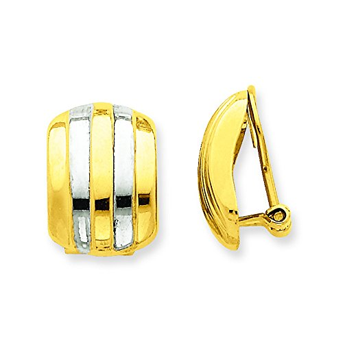 14k & Rhodium Ribbed Non-Pierced Omega Back Earrings by Shop4Silver