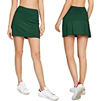 Cityoung Women's Casual Pleated Golf Skirt with Underneath Shorts Running Skorts
