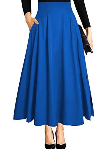 Blue Maxi Skirts for Women Vintage Summer High Waisted A-line Long Flowy Skirt