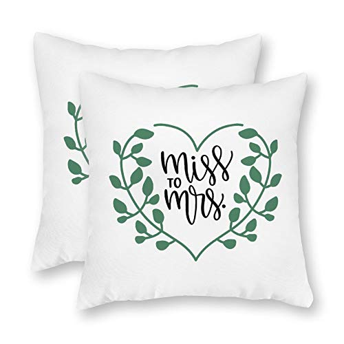 DKISEE Set of 2 Miss to Mrs Square Throw Pillow Cover Canvas Pillow Case Sofa Couch Chair Cushion Cover or Home Decor]()