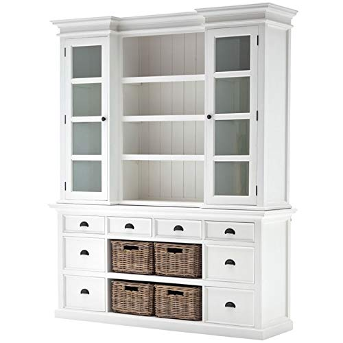 (NovaSolo Halifax Pure White Mahogany Wood Hutch Cabinet With Glass Doors, Shelves, 8 Drawers And 4 Rattan Baskets)