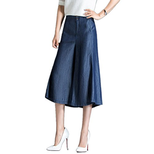 Gamba Blu Buio Denim Pantaloni Donna Casuale Alto Sciolto Largo Vita Jeans Anguang PBwSxfIqFn