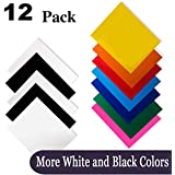 """Heat Transfer Vinyl for T-Shirts 12x10"""" 12 Sheets-Iron On Vinyl HTV Bundle for Silhouette Cameo, Cricut or Heat Press"""