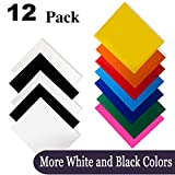 "Heat Transfer Vinyl for T-Shirts 12x10"" 12 Sheets-Iron On Vinyl HTV Bundle for Silhouette Cameo, Cricut or Heat Press"