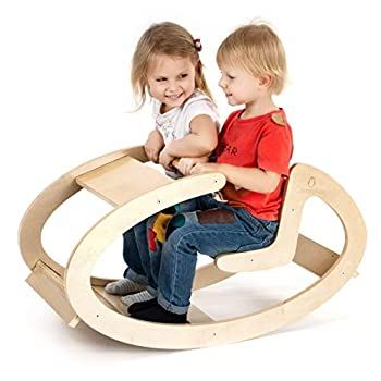 Image of CASSARO Waldorf Wooden Ride on Rocking Play (Natural) Baby