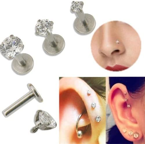 16G Short Steel Tragus Lip Ring Monroe Ear Cartilage Stud Earring Body Piercing