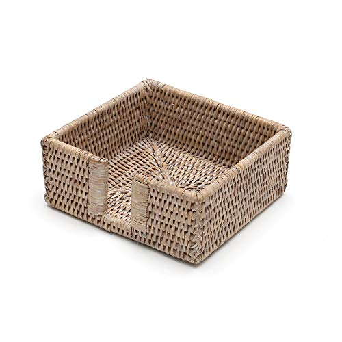 Holder Rattan - Entertaining with Caspari Rattan Cocktail Napkin Holder, White