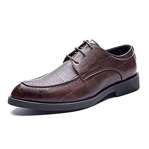 Marron 39 EU CHENDX Chaussures, Style décontracté pour Hommes Bout Pointu Oxford Grid Lines Chaussures Formelles Confortables et Basses (Couleur   Marron, Taille   39 EU)