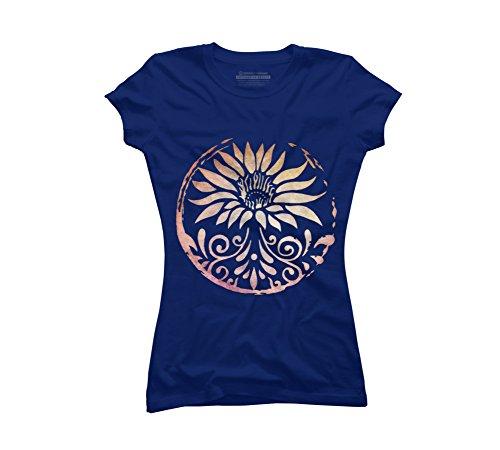Design By Humans Lotus Juniors' X-Large Royal Blue Graphic T Shirt