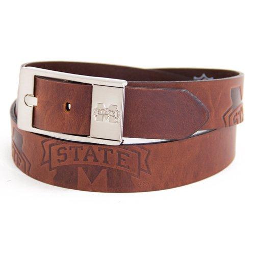 Mississippi State Brown Leather Brandished Belt - 38 Waist - Bullet Logo Belt Buckle