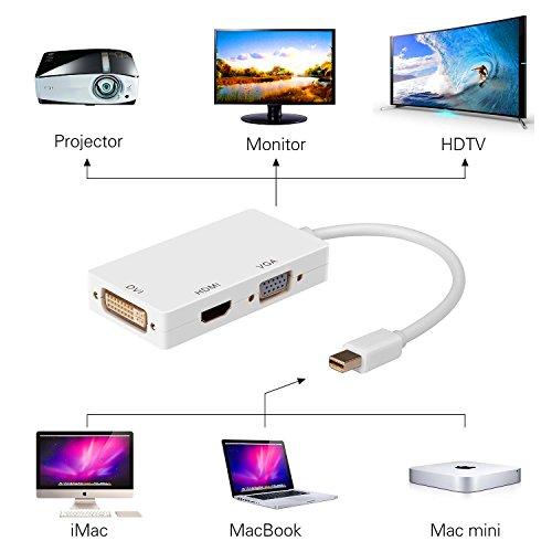 YCTC 3 in1 Thunderbole Port / Mini DisplayPort to HDMI VGA DVI Adapter Converter Full HD1080p for Apple Macbook/Windows Surface/Lenovo ThinkPad X1/Dell XPS PC Laptop Computer Monitor HDTV by YcTc (Image #5)