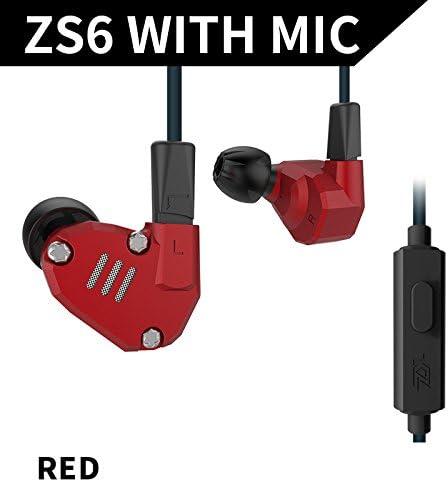 KZ ZS6 2DD+2BA - Auriculares intrauditivos híbridos, KZ ZS5 Pro rosso