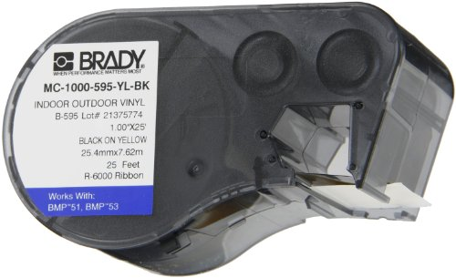 Brady MC-1000-595-YL-BK Vinyl B-595 Black on Yellow Label Maker Cartridge, 25' Width x 1
