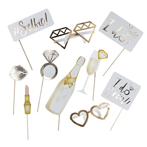 Ginger Ray ID-415 White and Gold Foiled Photobooth Props-10 Props