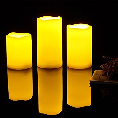 """Outdoor Flameless LED Candles with Timer - Long Lasting Waterproof Realistic Flickering Battery-operated Battery Powered Electric Electronic Pillar Candles 3""""(D)x4"""" 5"""" 6""""(H) 3-Pack"""