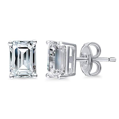 (BERRICLE Rhodium Plated Sterling Silver Solitaire Anniversary Fashion Stud Earrings Made with Swarovski Zirconia Emerald Cut 2 CTW)