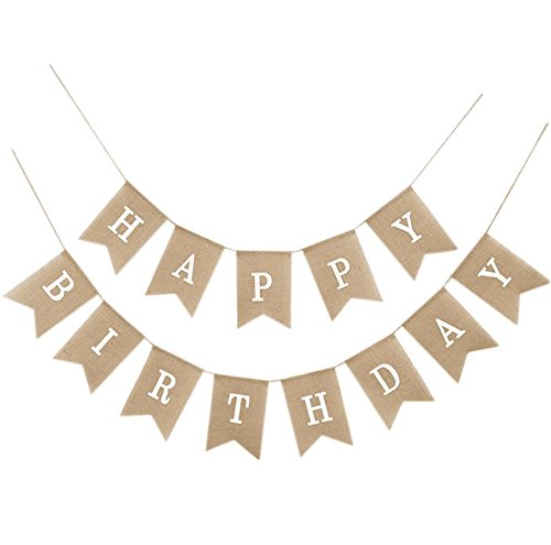 EBTOYS HAPPY BIRTHDAY Burlap Bunting Banners Party Flags Garland Birthday Party Supplies]()