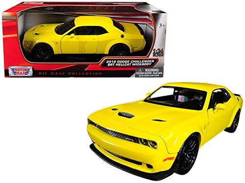 (Motormax 2018 Dodge Challenger SRT Hellcat Widebody Yellow 1/24 Diecast Model Car)