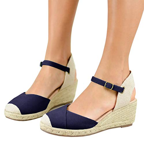 - Ermonn Womens Espadrille Platform Wedge Sandals Closed Toe Lace Up Ankle Strap Shoes