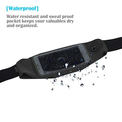 Flip Running Belt Runner Waist Pack Bag Fitness for Exercise, Running, Hiking, Travel iPhone 6 4.7 Touch Screen Large Capacity Size Adjustable Water Resistant Sweat proof Earphone Hole Money Belt