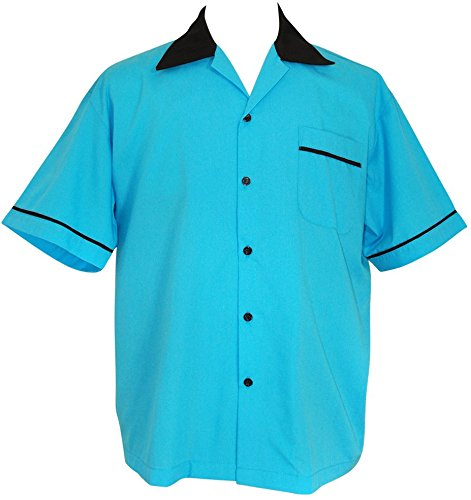 Classic 50's Retro Shirt (Bowling Retro 50's Classic USA Made Shirt ~ Rock n' Roll ~ Purple, Turquoise & Pink)