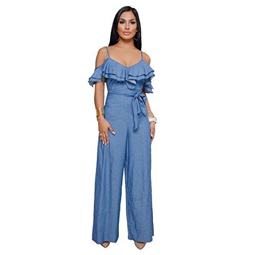 Women Summer Casual Tunic Denim V Neck High Waist Wide Leg Pants Jumpsuit Blue -
