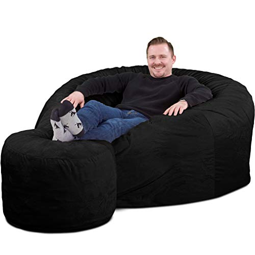 ULTIMATE SACK Bean Bag Chair w/Foot Stool in Multiple Sizes and Colors: Giant Foam-Filled Furniture - Machine Washable Covers, Double Stitched Seams, Durable Inner Liner. (Black Suede, 5000)